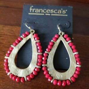 c8be0d6f72d45 Details about NWT Francesca's red gold beaded drop hoop earrings