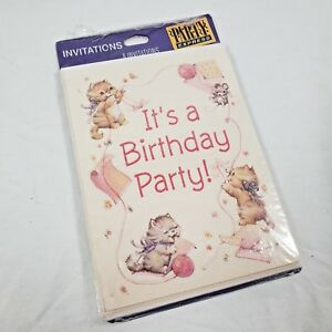 Details about vintage kitten birthday party invitations 8ct glitter baby girl cats pink sweet image is loading vintage kitten birthday party invitations 8ct glitter baby filmwisefo
