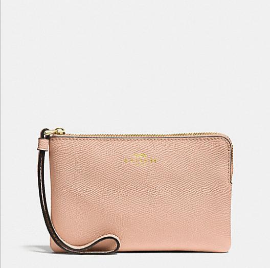 NWT COACH Crossgrain Leather Corner Zip Wristlet Wallet Nude Pink F58032