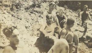 1910s Teenage Boys Girls On Creek Beach Appalachia Antique Photo