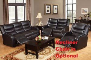 Living Room 2 Pc Motion Sofa Set Sofa & Loveseat Black Bonded Leather Furniture