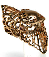 Antique Gold Cut Out Filigree Deco Shield Armor Knuckle Ring Size 7 Free Ship