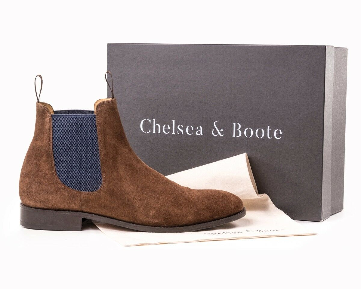 Chelsea Boots, Chocolate, bluee Elastic Size 11 By Chelsea & Boote