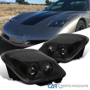 For 97-04 Chevy Corvette C5 Replacement Projector Matte Black Headlights Lamps