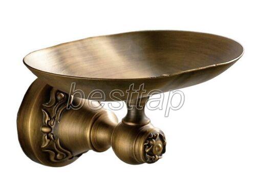 Antique Brass Carved Wall Mounted Bathroom Soap Dish Holder Basket Shelf sba429