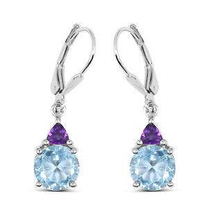 5-ct-Genuine-Blue-Topaz-925-Sterling-Silver-Lever-Back-Drop-Gemstone-Earrings