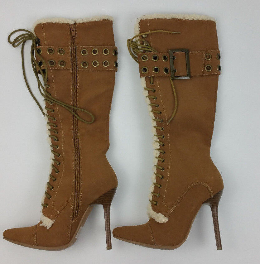 a527c67a154 Ellie Shoes Shoes Ellie Tan Faux Leather Shearling Buckle Accent Boots Knee  High Size 6