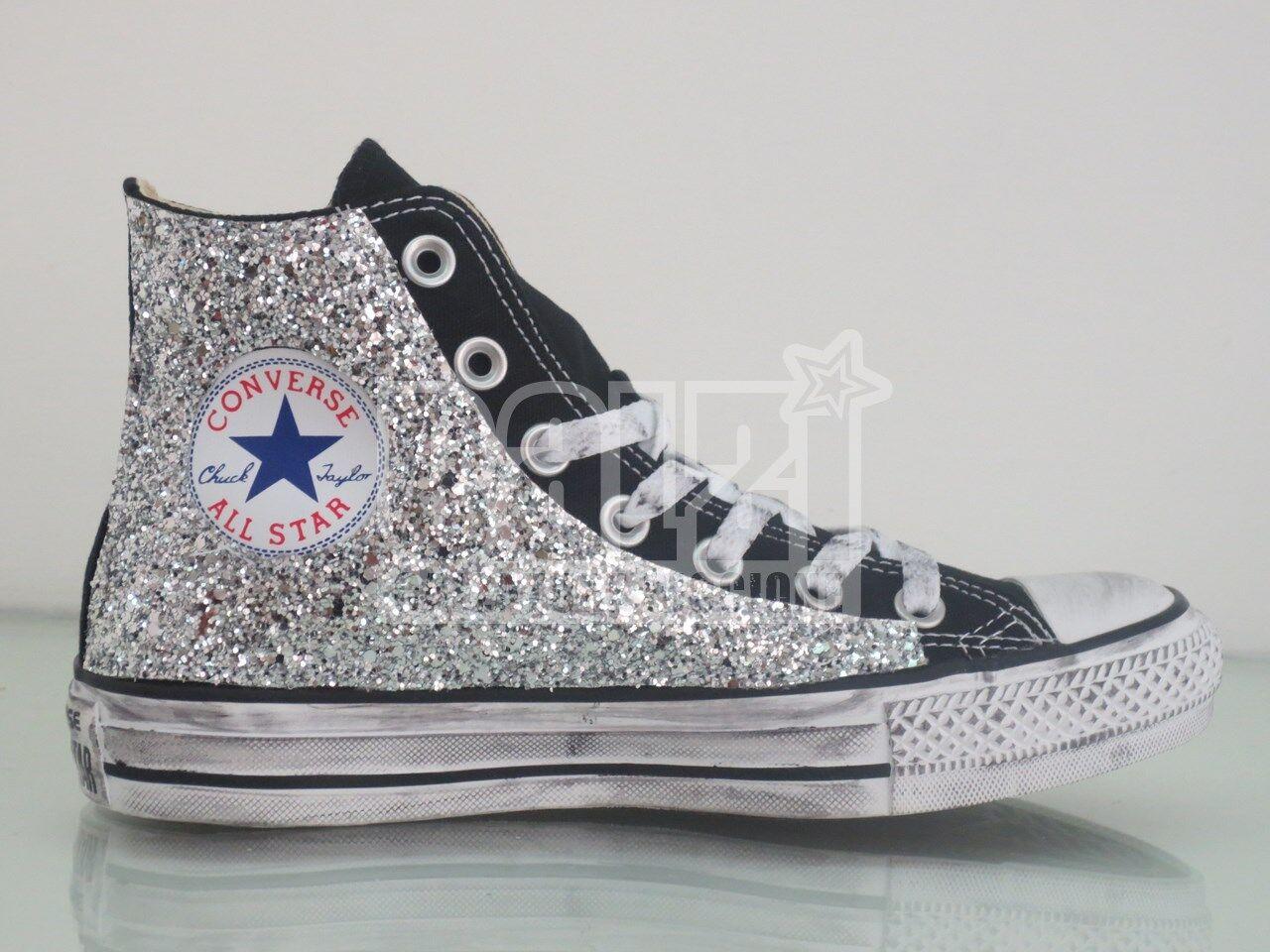 Zapatos de mujer baratos zapatos de mujer Converse all star Hi nero black  glitter argento artigianali