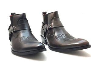 ea2ebb896 Mens Alfa Shoes Boots Cross Western Cowboy Zipper Harness Buckle ...