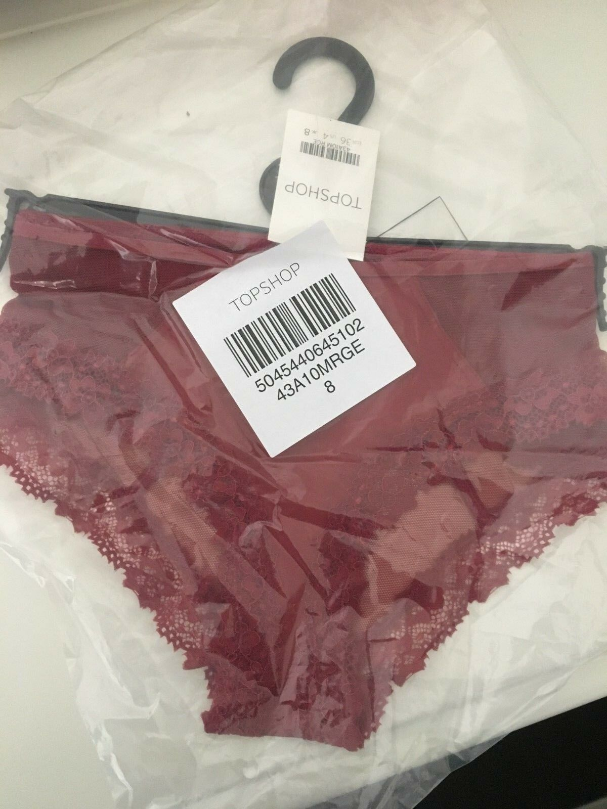NEGOTIABLE 8 TOTAL  6 Topshop red Hipster, 2 embroidered floral thong US 4