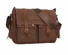 17 Inch Men Messenger Laptop Work Shoulder Bag Vintage Military Canvas Leather
