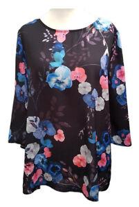 Femme-Nouveau-TAILLE-PLUS-16-22-24-haut-tunique-crepe-Floral-UK-Made-SOFO-courbes-BNWT
