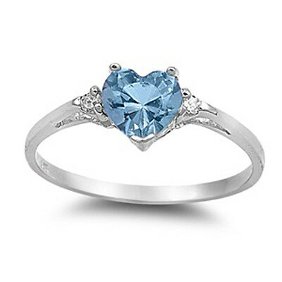 Sterling Silver Aquamarine CZ Heart Ring Love Band Solid 925 New Sizes 3-12