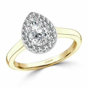 1.30 Ct Pear Cut Genuine Moissanite Wedding Ring 14K Solid Yellow Gold Size 4.5