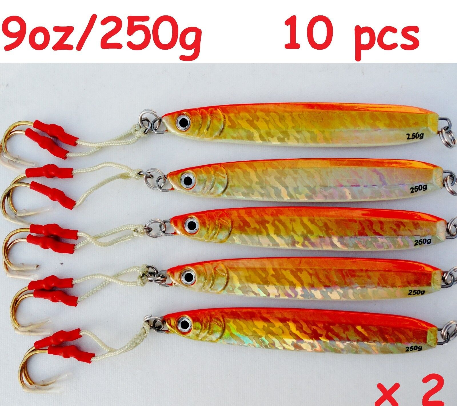 Qty10 Knife Jigs 9oz 250g orange greenical Butterfly Saltwater Fishing Lures