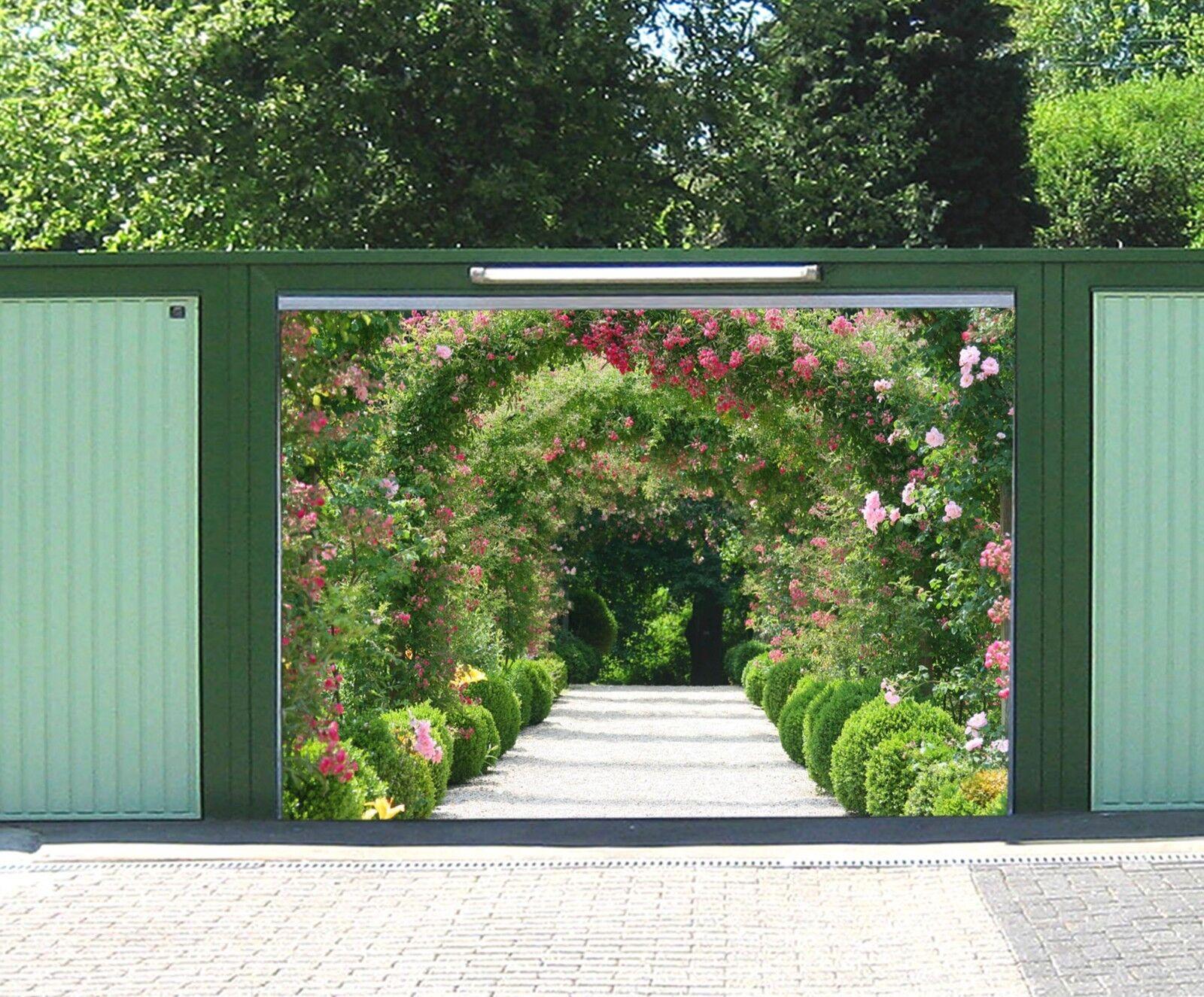 3D Flowers Plant Hole 5 Garage Door Murals Wall Print Wall AJ WALLPAPER UK Lemon