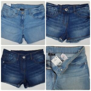 GIRLS-NEW-NEXT-DENIM-SHORTS-AGES-10-11-12-MID-DARK-BLUE-AUTHENTIC