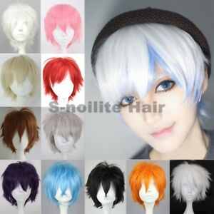Image is loading Short-Cosplay-Wigs-Women-Men-Male-Halloween-Hair-  sc 1 st  eBay & Short Cosplay Wigs Women Men Male Halloween Hair Unisex Full Wig ...