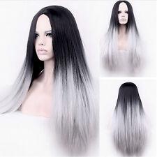 Langhaar Perücke sey lang braun schwarz Grau blond Damen Frauen Perücken Mode