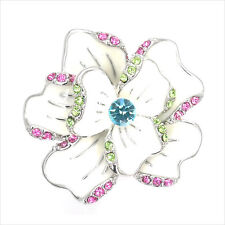 Paved Flower Cocktail Ring Gift Costume Jewelr Enamel Crystal Multicolor New 147