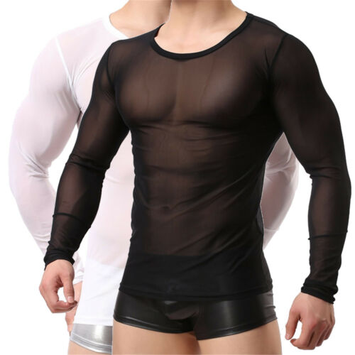 Men/'s See Through Tank Top Mesh Sheer Vest Clubwear Muscle T-Shirt Undershirts