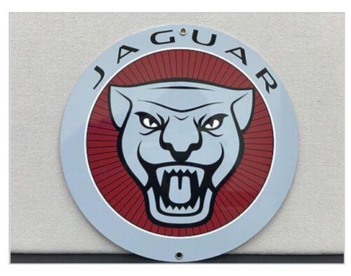 Vintage Reproduction Jaguar British Racing Advertising Red  Garage Sign