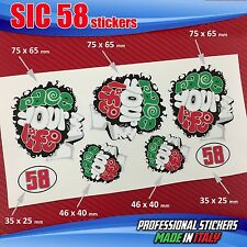 Set n.7 adesivi SIC 58 Simoncelli race your life testa tricolore SIC2