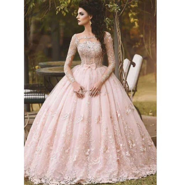 85928fd79d7 New Pink Long Sleeve Prom Dresses Ball Gown Appliqued Sweet 16 Quinceanera  Dress