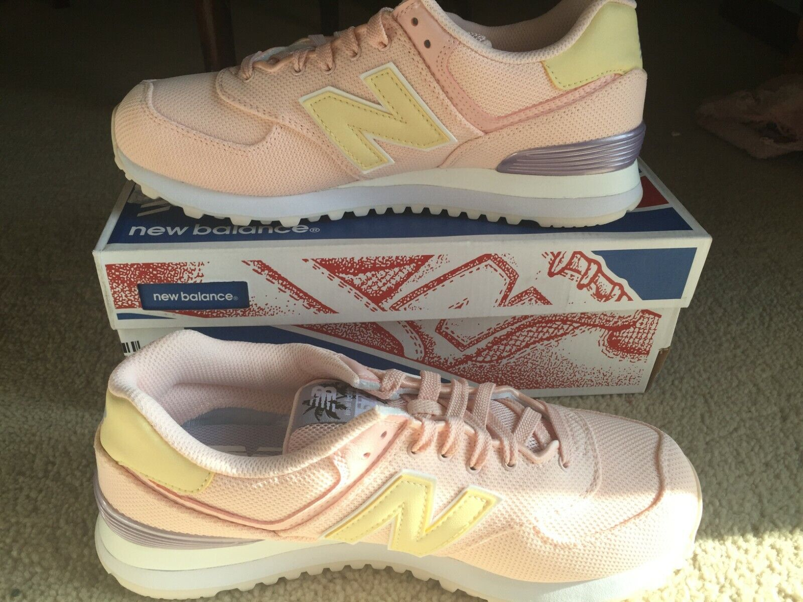 Womens Sneakers New Balance Coral and Yellow Size 8.5 M New