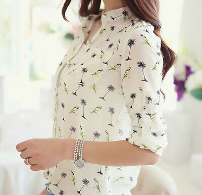 Fashion Women Long Sleeve bird Casual Chiffon Shirt Elegant T-shirts Blouse Tops