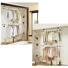 Heave Duty Adjustable Double-layers Clothes Garment Rack steel pipe Hanger Shelf
