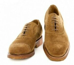 Neuf Paolo Scafora Marron Clair Chaussures - à Lacets - 7/6 - (Gen / Gy /06NOIX)