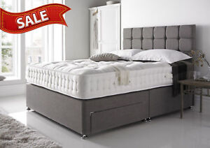 Grey Suede Divan Bed Base Small Double King Drawers