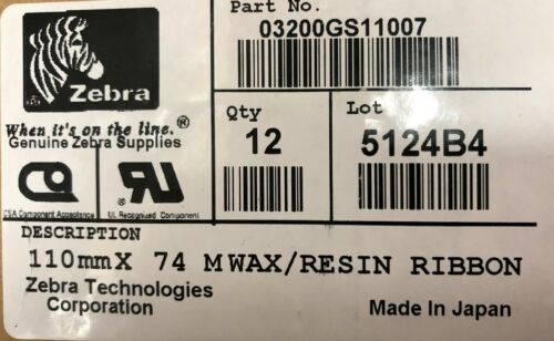 Zebra 03200GS11007 Wax Resin High Perf Resin Ribbon 4.33inx242ft 3200 12 Rolls