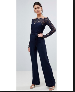 5de324e8159 Lioness Off Shoulder Lace Top Wide Leg Jumpsuit - Navy black Size XS ...