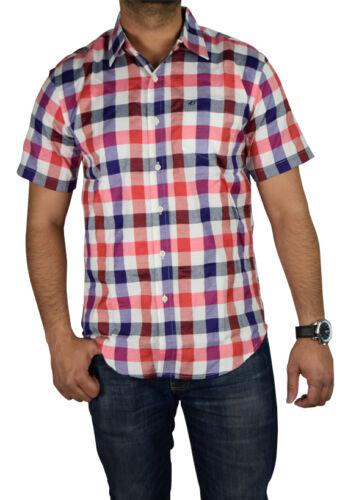 New Mens Short Sleeve Shirt Cotton Blend Summer Casual Check Shirts S-XXL