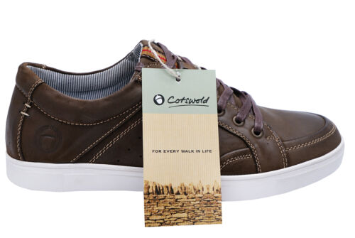 MENS BROWN LEATHER COTSWOLD LACE-UP CASUAL TRAINERS PUMPS COMFY SHOES UK 10-12