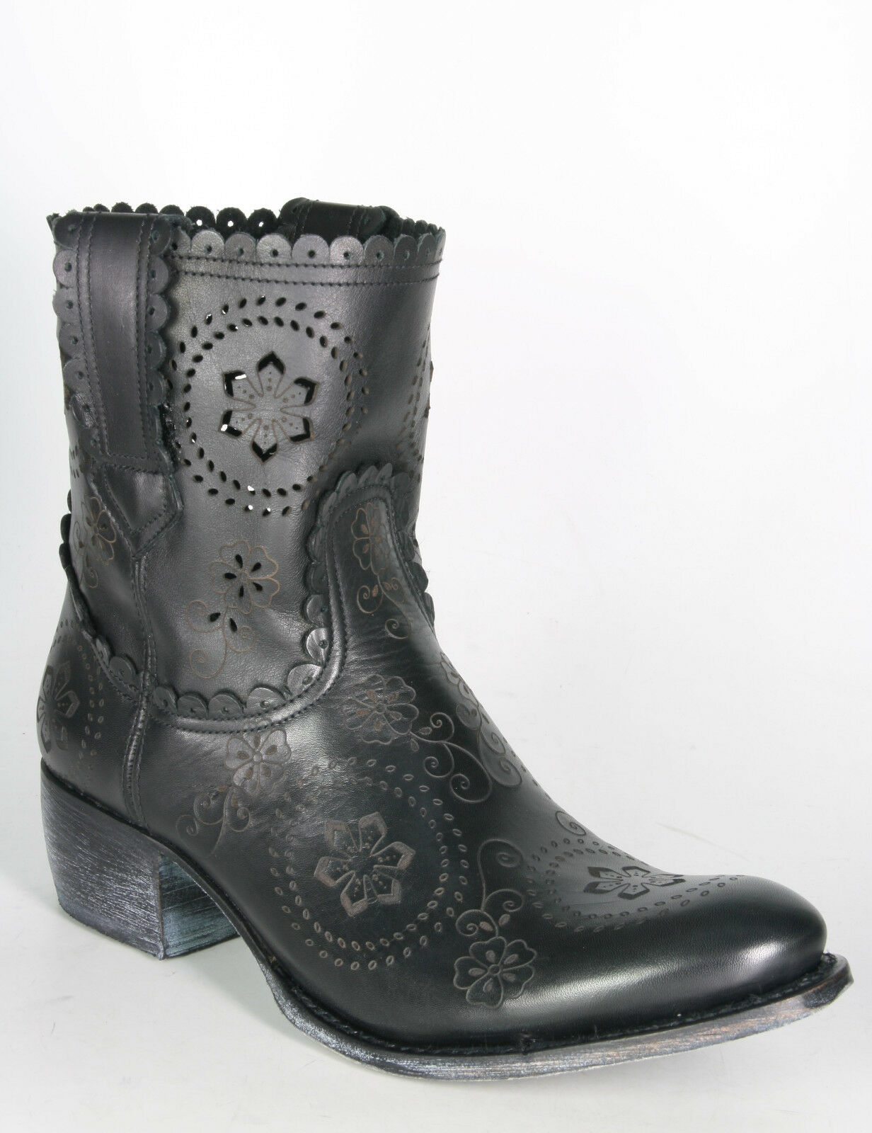 10281 Sendra Stiefeletten schwarz Ankle Stiefel Boho Rahmengenähte Schuhe