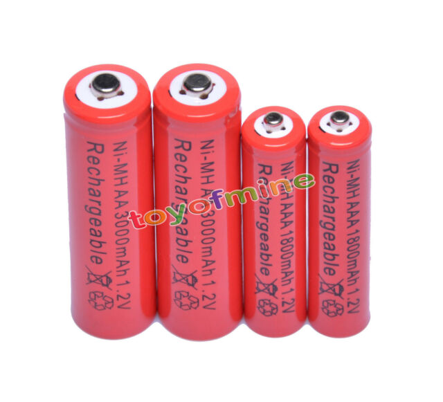 2 AA + 2 AAA 3000mAh 1800mAh 2A 3A 1.2V NI-MH Rechargeable Battery Cell