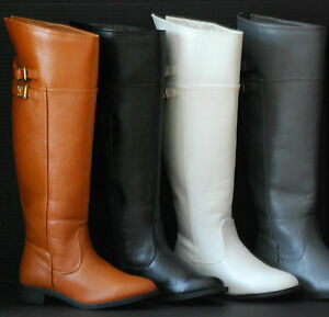 Tall Riding Buckle Knee High Boots Women NEW Faux Leather Big Size Winter Shoes