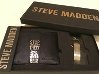 In Gift Box Steve Madden Black Leather-bifold Wallet With Rfid Protection