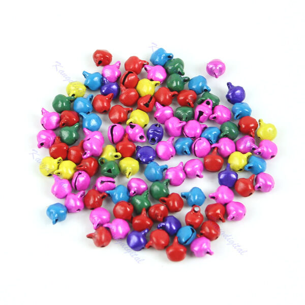 100pc Small Bell Craft Jewelry Wedding Charms 6mm Bead Findings Gold Mixed Color