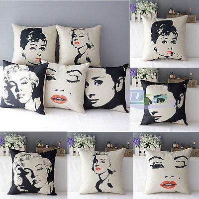 Audrey Hepburn Marilyn Monroe Cotton Linen Decor Throw Pillow Case Cover Print