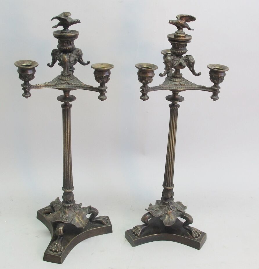 Fine Pair of Antique French Neoclassical Bronze Four-Light Candelabra  c. 1880