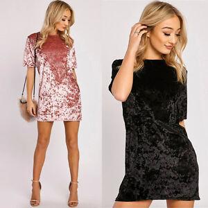 Mode Damen Velvet Kurzarm Kleider Cocktailkleid Minikleid ...