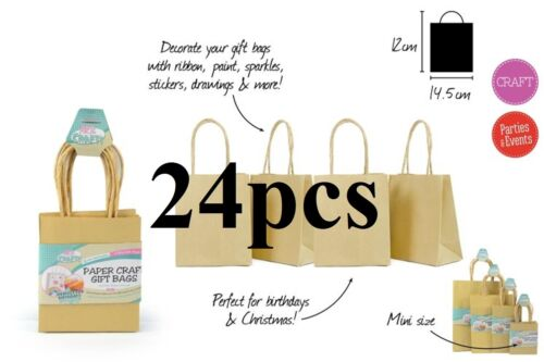 24 x Paper Gift Bags-14.5x12x7cm-Brown 100/% Brand New