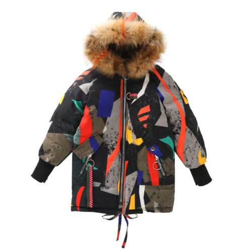 Girls Kids Padded Coat Quilted Winter Jacket Puffer Fur Hooded Long Loose Parka