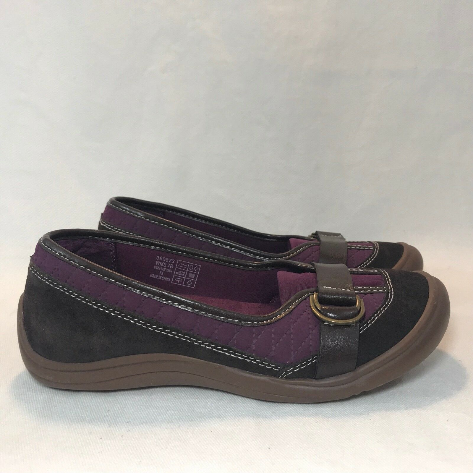 Land's End Sz 7 Brown & Purple Suede Leather Slip On Loafer Flats Driving shoes