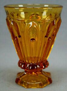 EAPG-Pillared-Loop-Amber-Flint-Glass-Footed-Tumbler-Circa-1850s