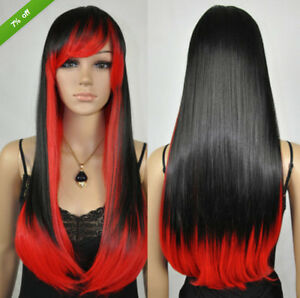 Details About Fashion Women Straight Black Mix Red Ombre Long Cosplay Heat Resistant Hair Wigs